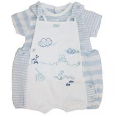 Coco Boys Romper Dungaree & T-Shirt Blue & White CCS5535