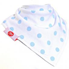 Zippy Baby Bandana Dribble Bib Polka Dots White With Light Blue