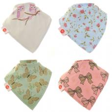Zippy Baby Girl Bandana Dribble Bib 4 Pack Vintage