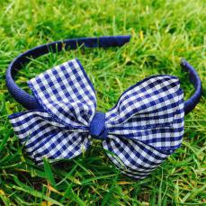 Little Annie Bets Navy Gingham Headband