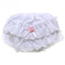 Pex Rose Frilly Bum Pants White With Pink