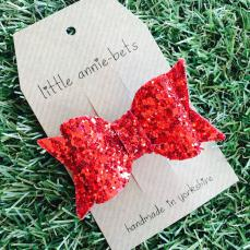 Little Annie Bets Ruby Slippers Bow Clip