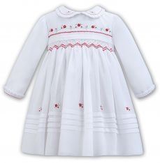 Sarah Louise Winter Dress White With Red Embroidery 011304