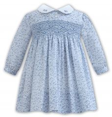 Sarah Louise Winter Blue Floral Ditsy Dress With Smocking 011318