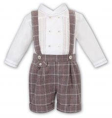 Sarah Louise Boys Winter Shirt And Short Dungaree Set Beige Check 011750