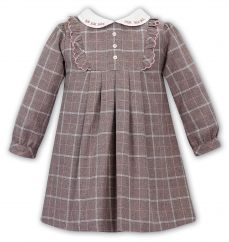 Sarah Louise Girls Winter Dress Beige Check 011751