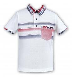 Sarah Louise White Boys Polo Checked Collar T-Shirt  9299