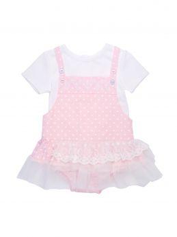 d196df60e163 Mintini Baby Girls Summer Pink Polka Dot Romper Set MB1797
