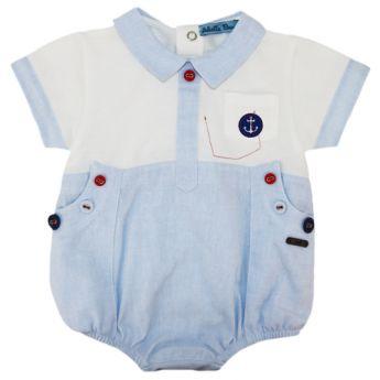 b0cf5af42 Abella Summer Sailor Romper Pale Blue White ABS9053