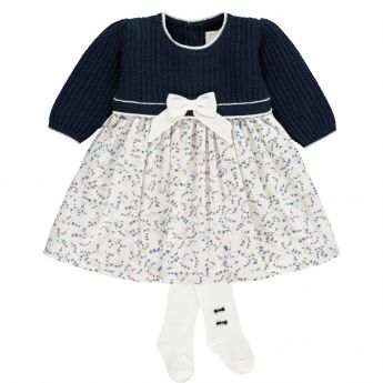 Emile et Rose 'Nelly' Navy Knitted Dress With Print Skirt And Tights
