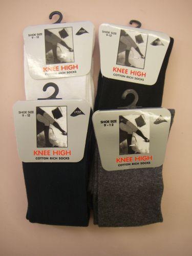 Unisex Knee High School Socks - Single Pair: 12.5-3.5 GREY