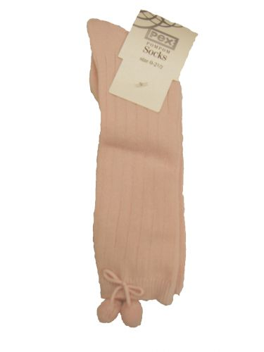 Pex Pink Pompom Knee High Socks: Size 0-2.5/approx 6-12mths/euro 15-18