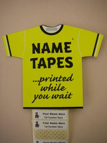 Printed Name Tapes: 10 Name Tapes