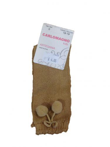 Carlomango Knee High Pompom Socks Camel: 00/shoe size 16-17/3-6 months