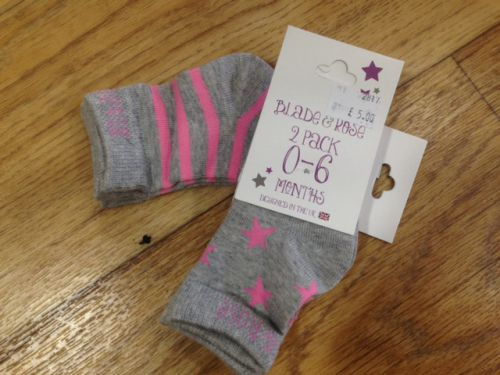 Blade & Rose Marl Grey And Pink Socks: 0-6 months