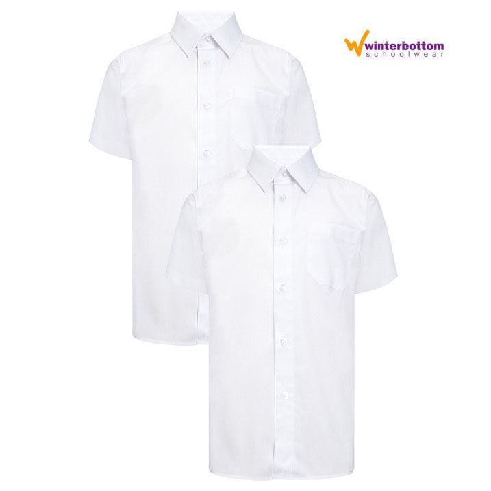 "BOYS SCHOOL SHIRTS SHORT SLEEVE WHITE COLLARS 11/""-14.5/"""